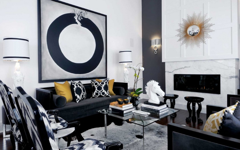Bold black and white living room decor