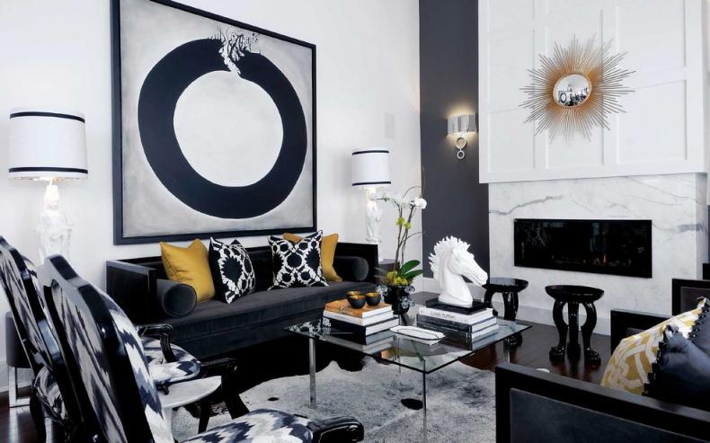 Bold black and white living room decor