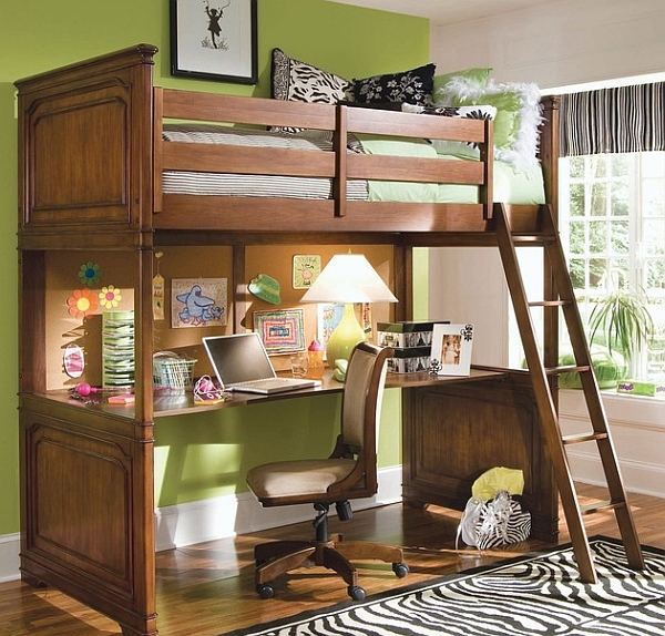 Small space loft bunk bed with a space below