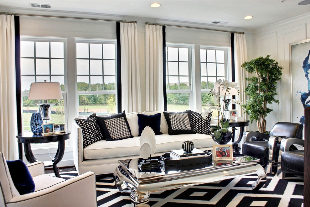 Black and white living room decoration White and black modern living room