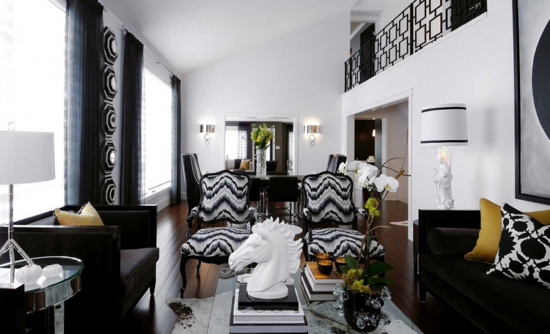 Black and white double-height living area