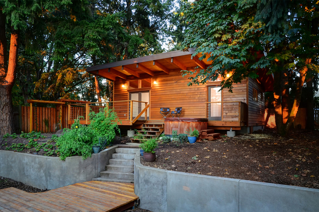 House with horizontal layers of wooden blocks