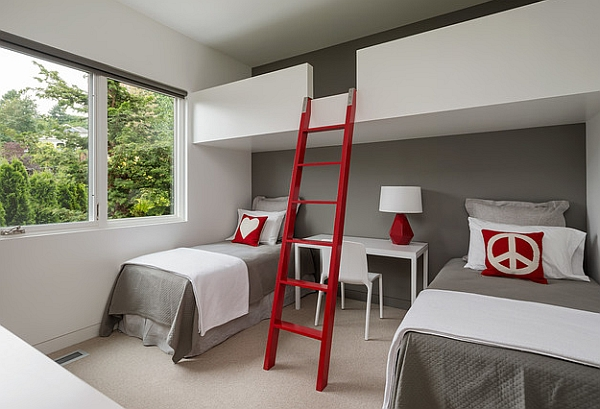 Red color highlights this room