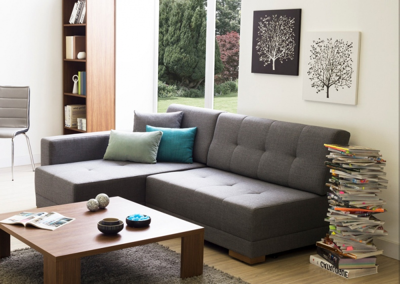 Contemporary space with a convertible L-shaped sofa