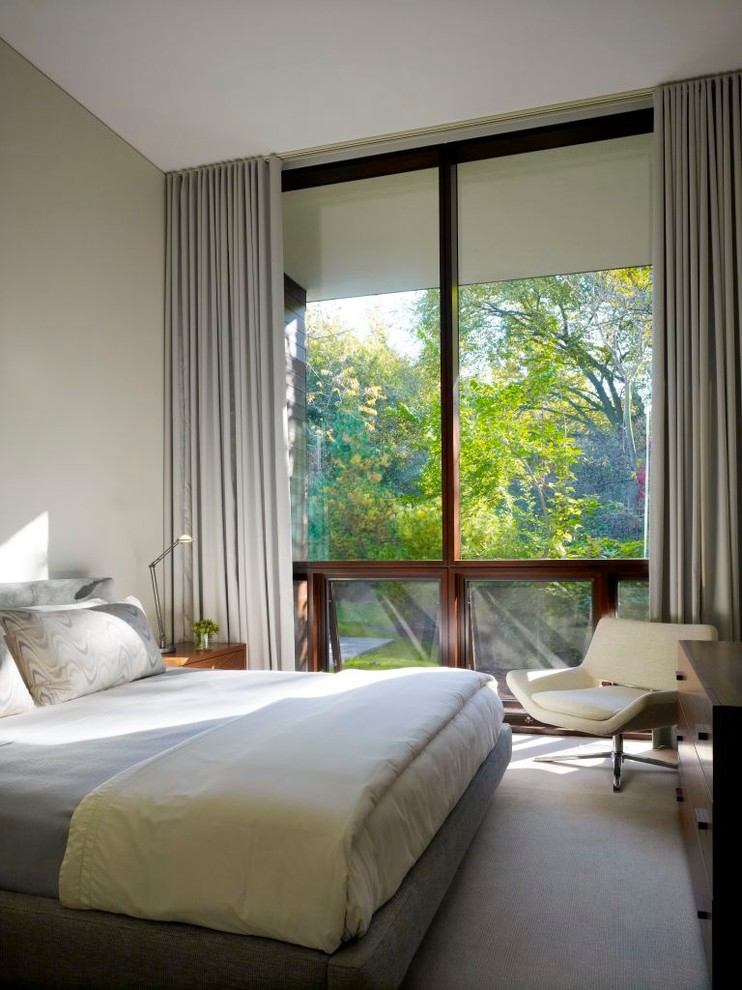 Curtains as window treatment for Grey bedroom window treatments
