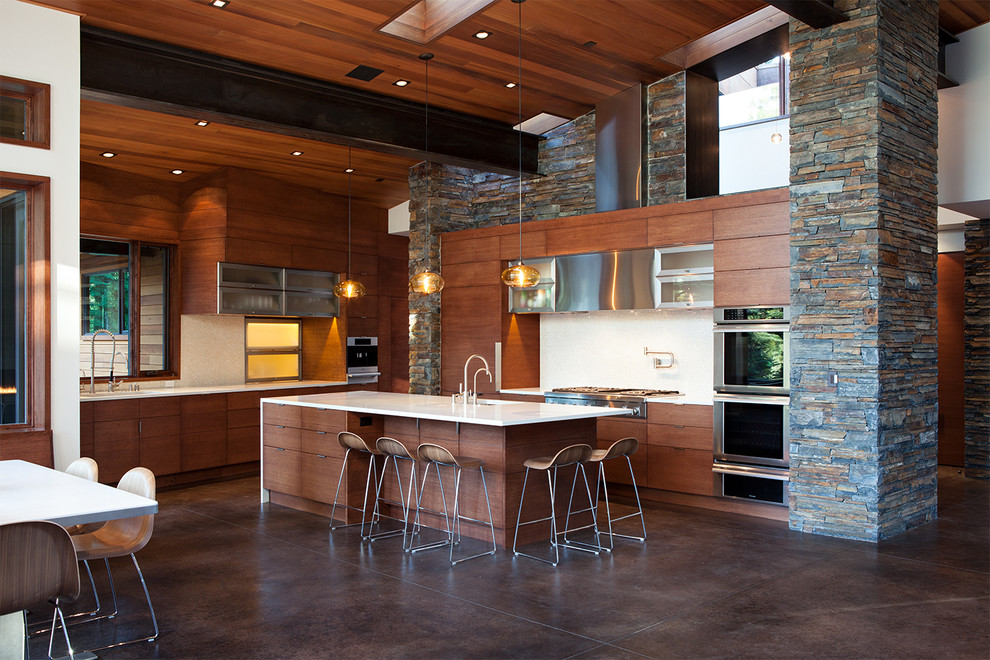 Hanging lights over island in kitchen for Mountain modern design