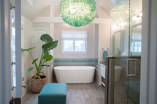 Bathroom with Green sea creature like round ball light