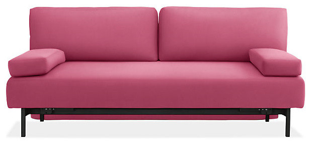 Pink suede colour sofa with two arms resting