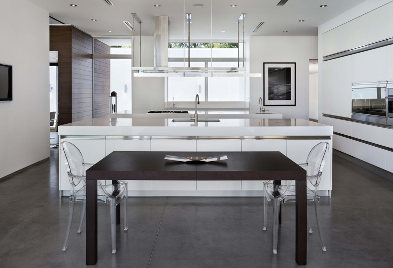 White colour kitchen cabinets come to the background