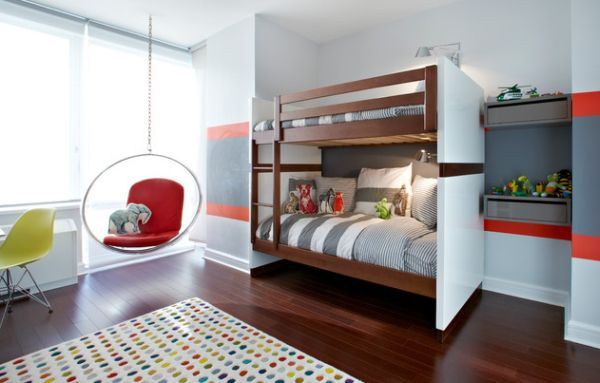 Brown and white bunk bed design