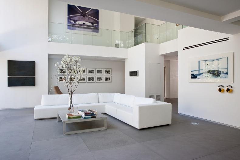 Living room has L shaped sofa