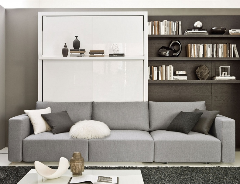 Murphy bed with a neat grey sofa