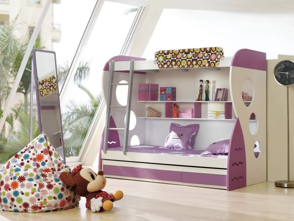 White And Purple Bunk Bed
