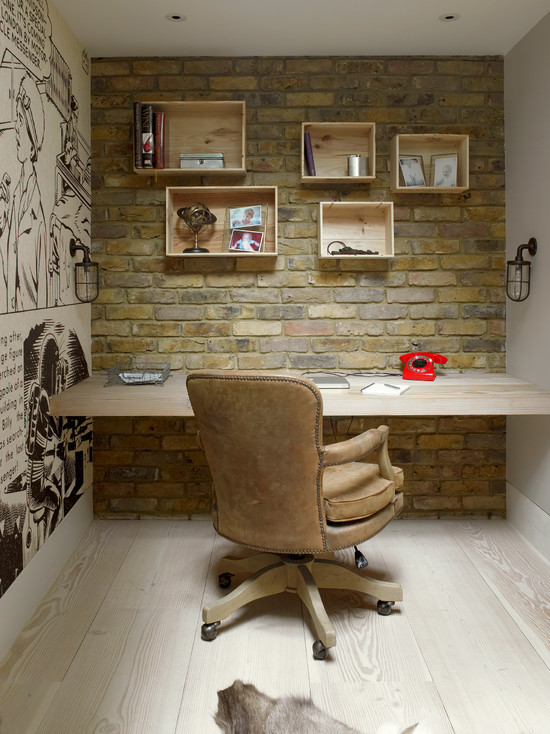 Wooden desk enlarges the place