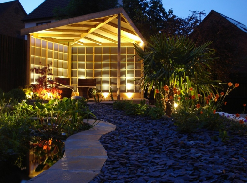 Beautifully lit garden view during the evening