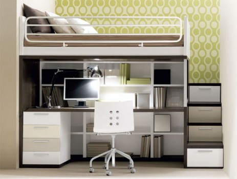 bunk bed with computer desk