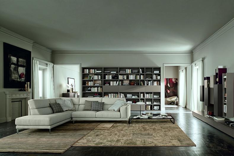Modular wall unit serves as a suave book shelf