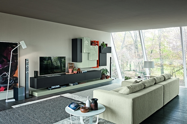 Living room with classy wall units