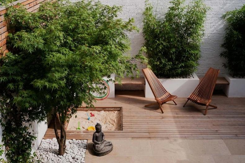 Garden with a Gautama Buddha statue