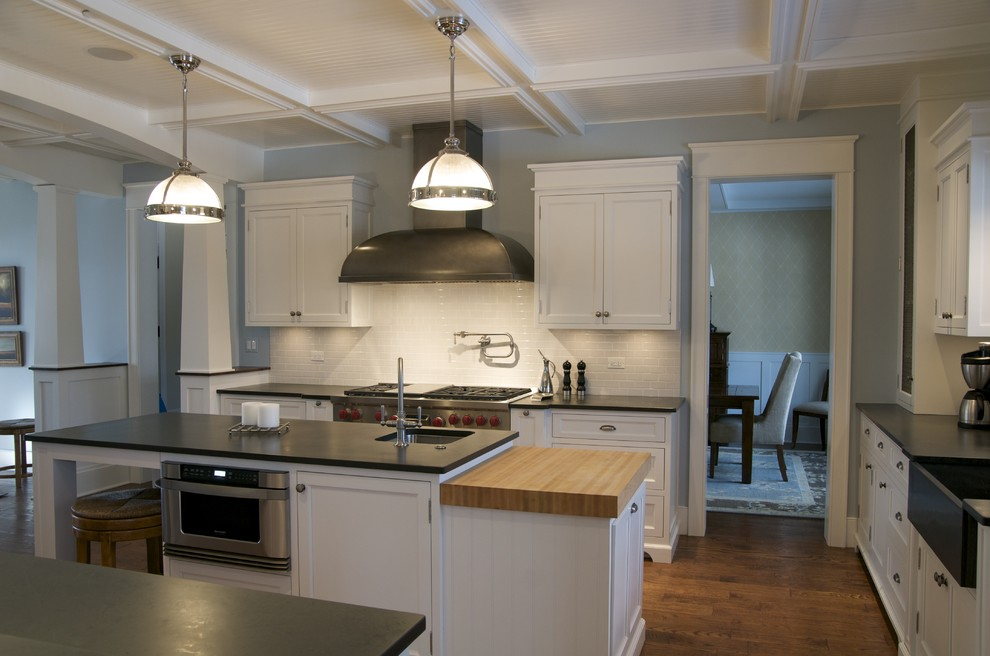 The black slate counter top that is used in this kitchen provided the