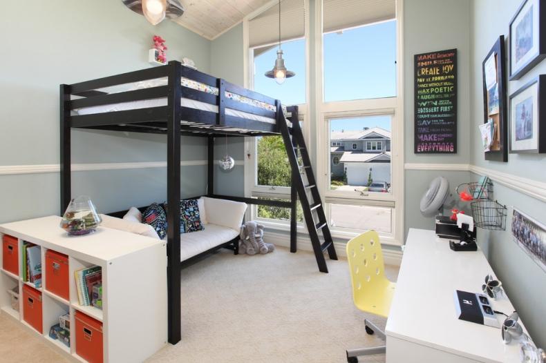 Classy dark wood loft bed