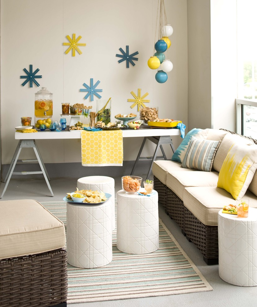 Creative house warming party decorations ideas for Living room stools