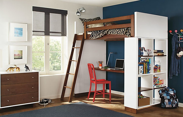 Lofted bed stands high extending comfortable floor space