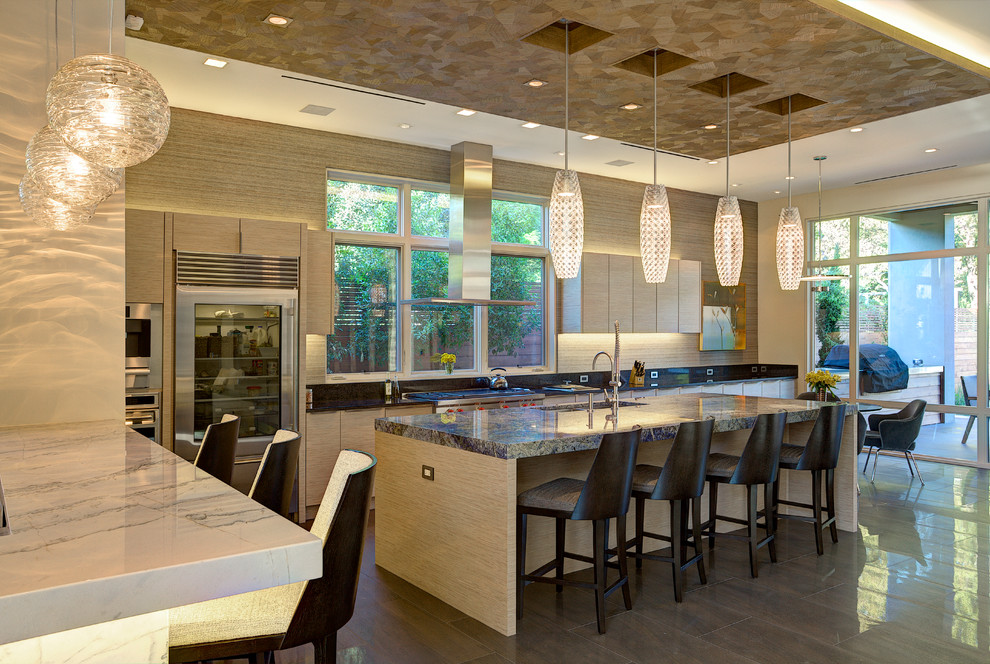 Hexagon pendulum lights over the kitchen countertop
