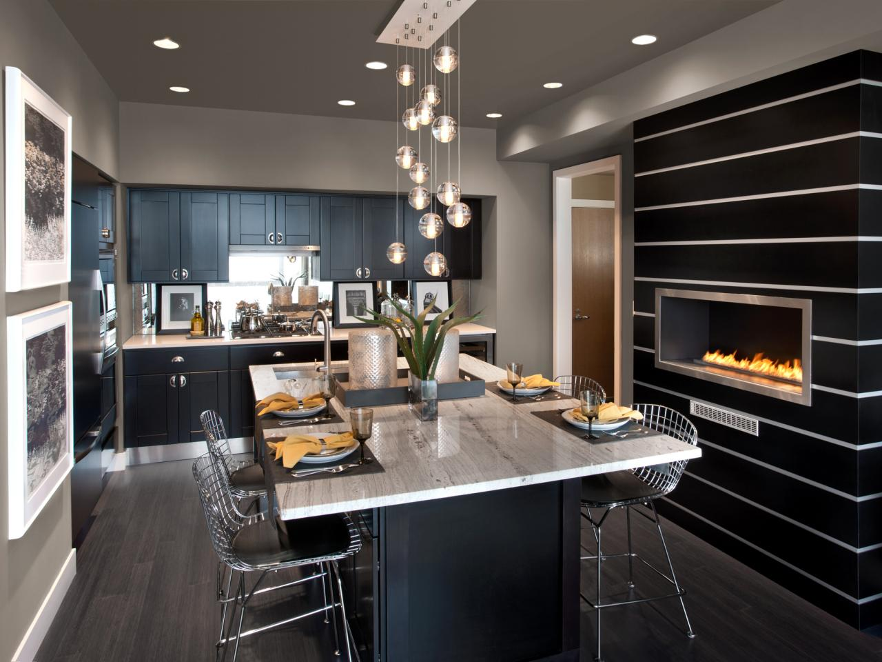 Contemporary Black Kitchen Design Ideas ~ Kitchens with modern kitchen island plans