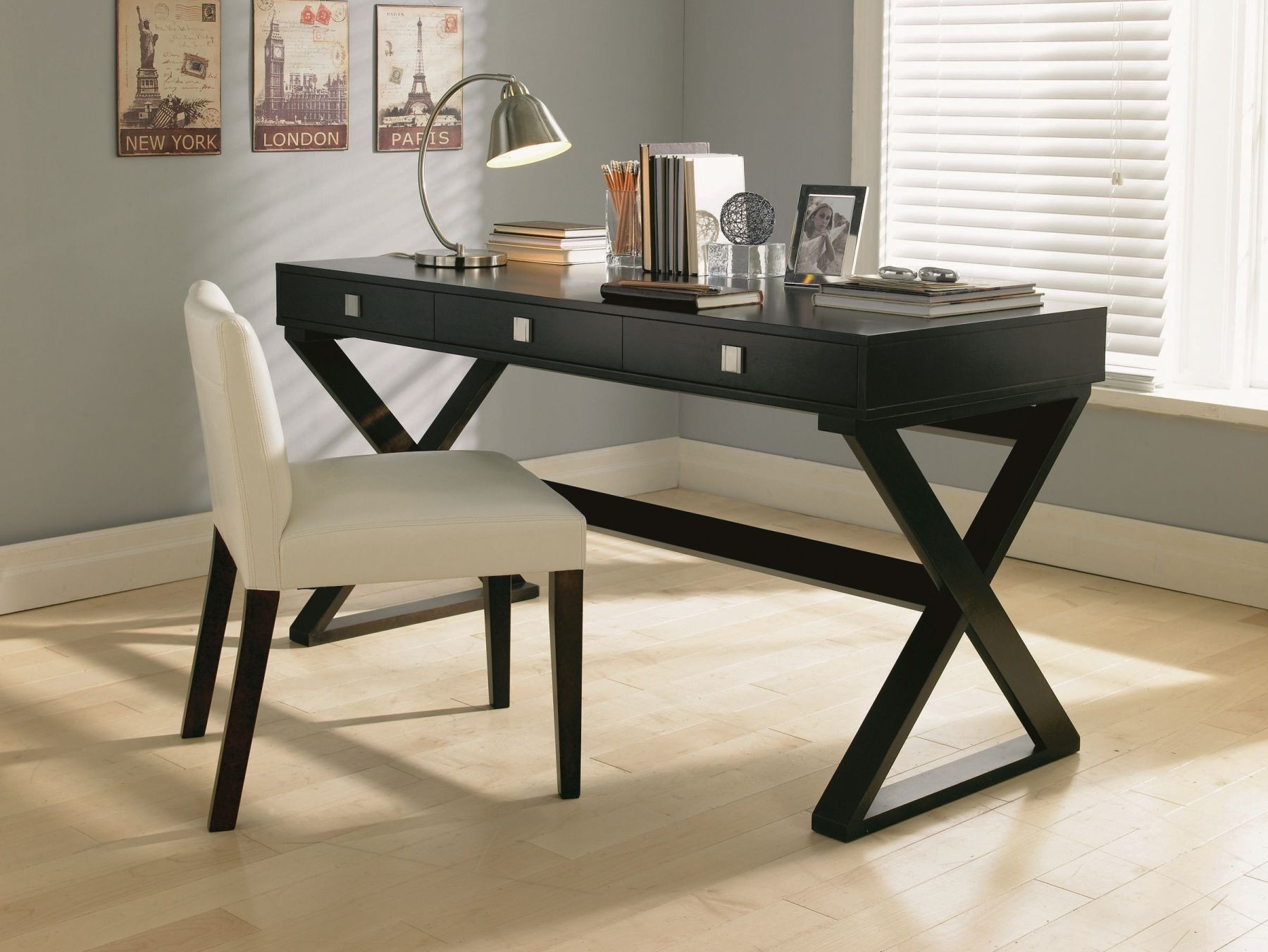 black wood modern office desk