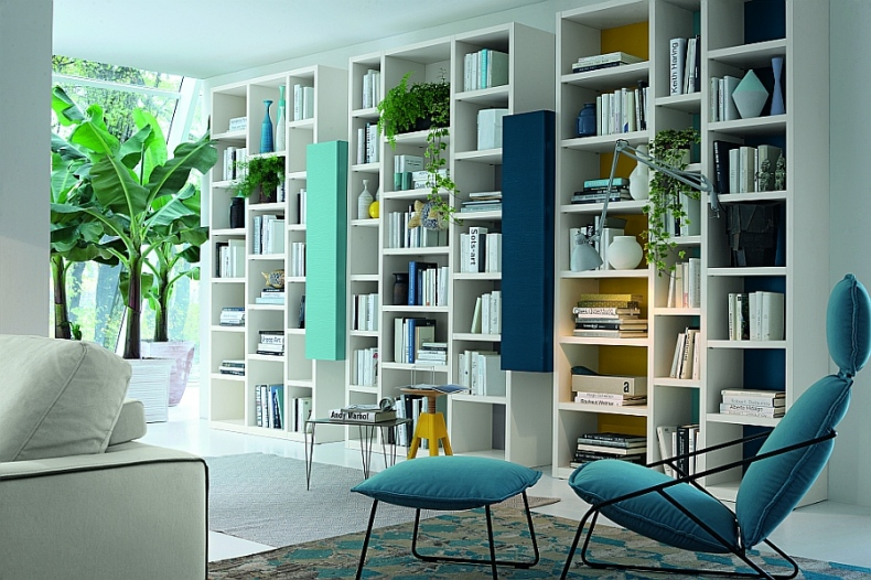 The wall looks really interesting with the attached book racks