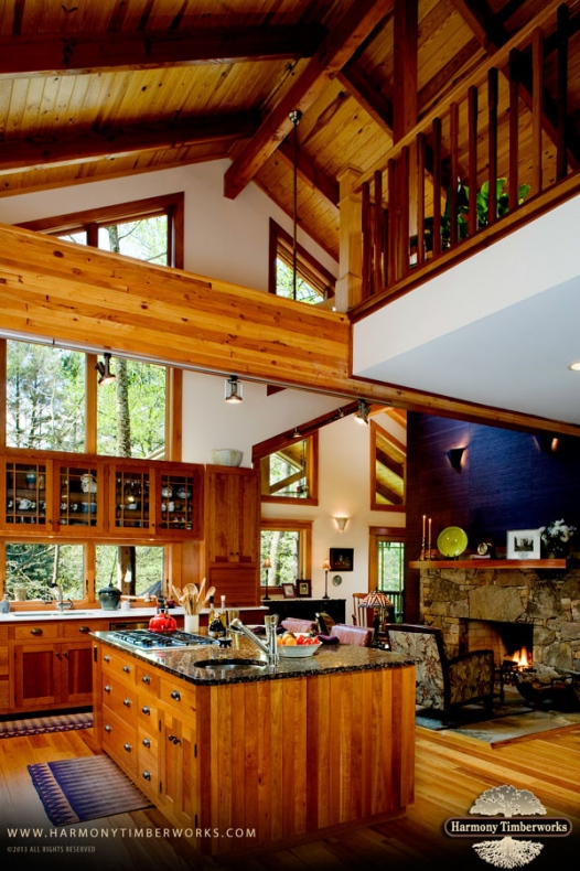 Traditional kitchen with timber frames