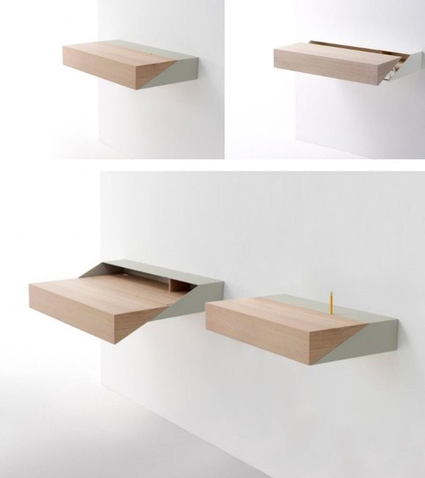 Wooden desk is jutted in the wall