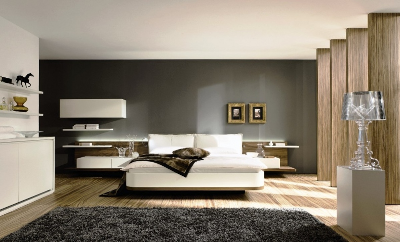 Bedroom With Silver And Grey Rug