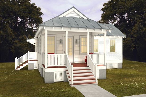 Temple like house has horizontal layers
