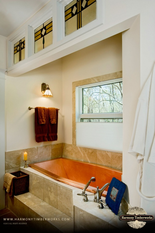 Bathroom with timber bathtub