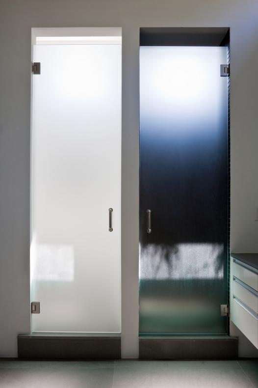 The door has metallic handle