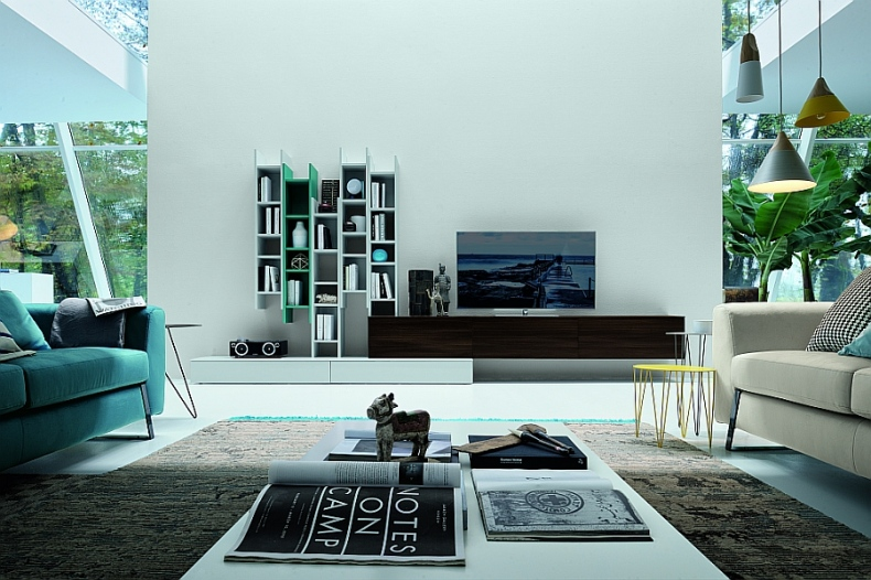 Living room with floating wall units