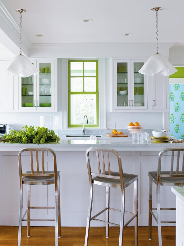 white and green kitchen