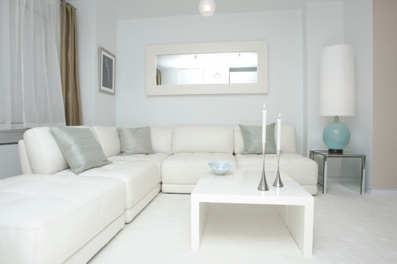 white L-shaped sofa