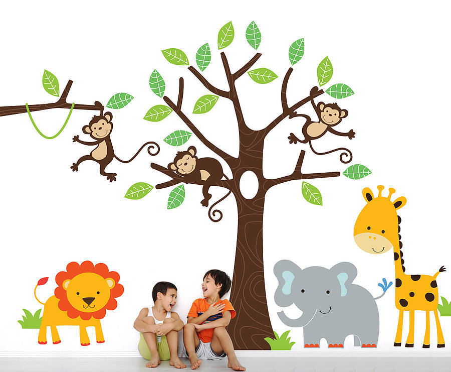 Childrens jungle wall sticker set