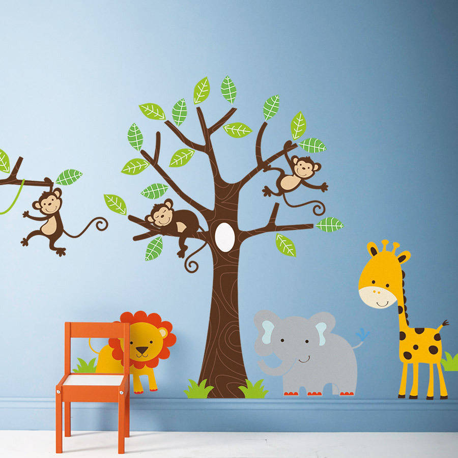 Jungle themed wall sticker set
