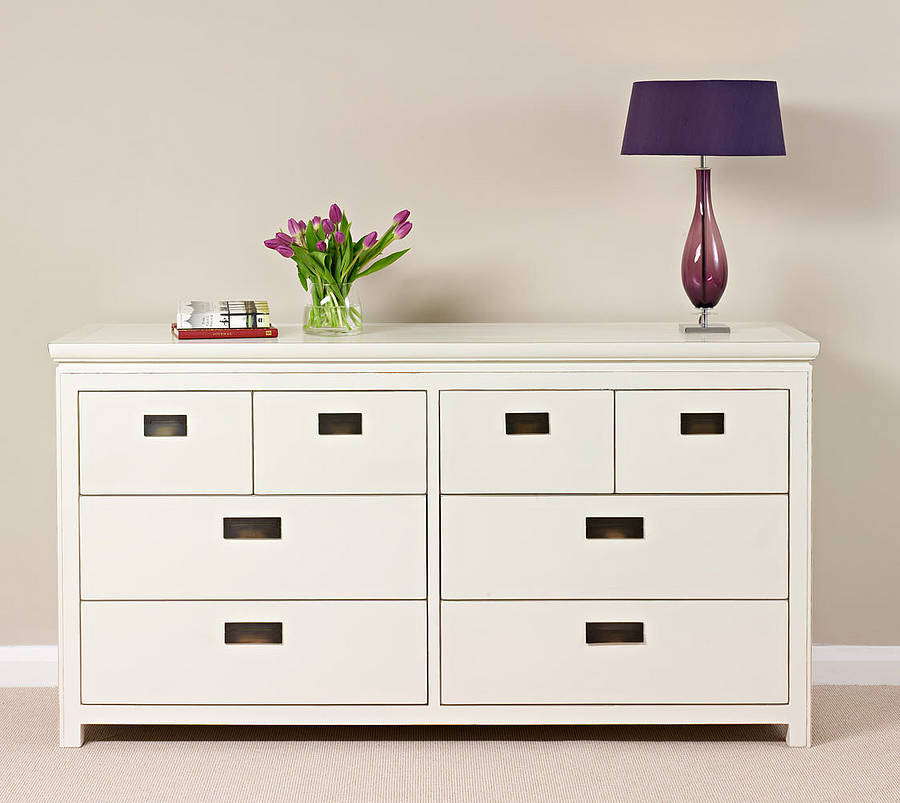 White lacquer chest of drawers