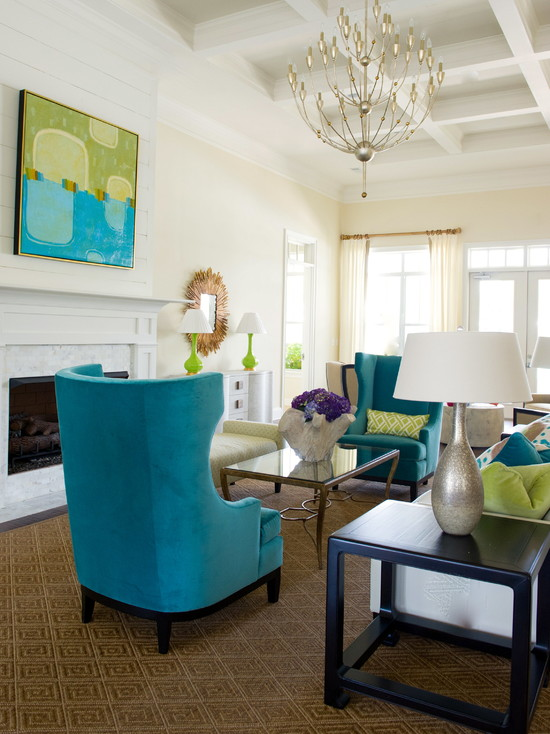 Blue Wingback Chairs and green cushions