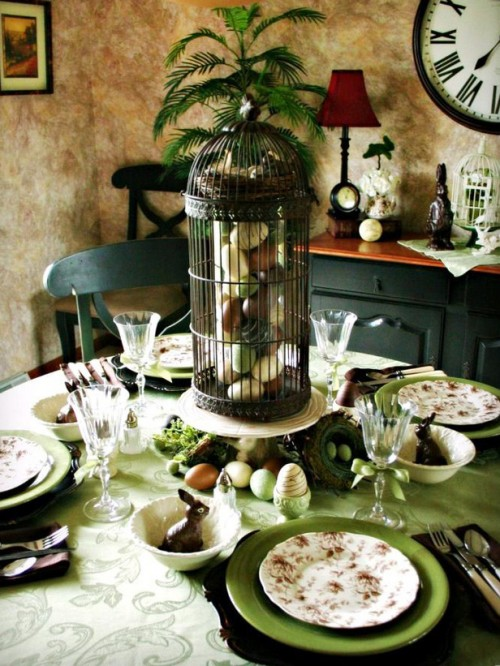 Caged Wooden Eggs Table Centerpiece