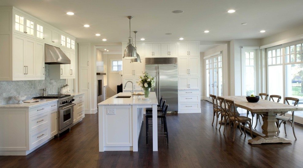 Creating an open kitchen and dining room for Kitchen dining room layout ideas