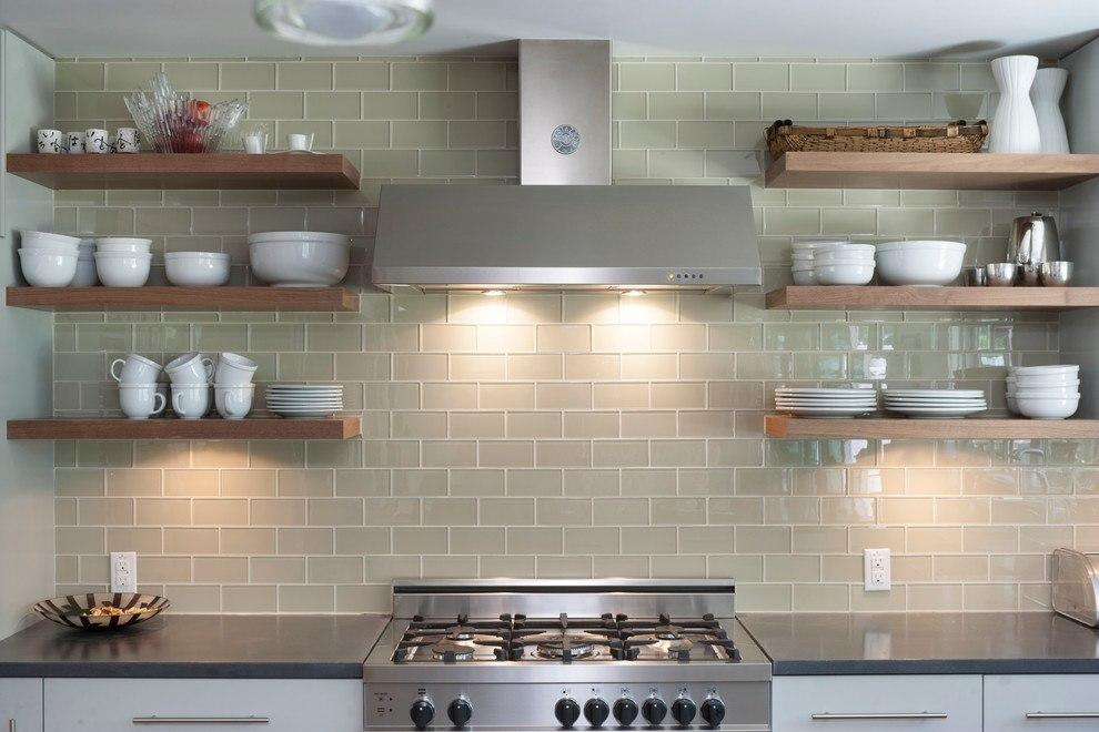 open plan kitchen cream white tower backsplash