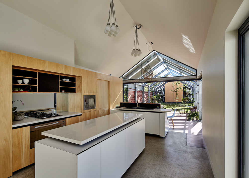 Kitchen area with an island