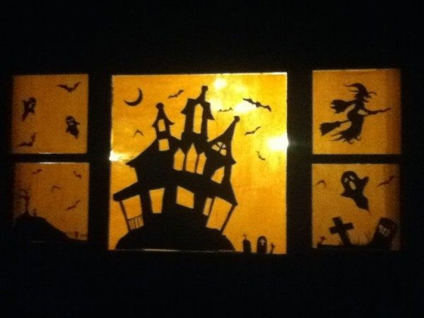 Luxurious halloween window decoration silhouettes