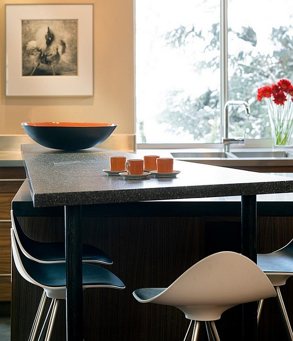Contemporary bar stools blend in perfectly in a room